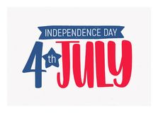 4th July Independence Day inscription written with elegant font and decorated with ribbon. Festive lettering isolated on. Light background. Vector illustration Stock Photos