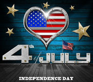 4th of July - Independence Day. Interior room with metal porthole heart shape with US flag interior and inscription 4th of July - Independence Day Stock Photo