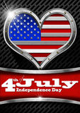 4th of July - Independence Day. Metal porthole heart shape with US flag interior, on black and gray dark grid with phrase 4th of July - Independence Day Royalty Free Stock Photos
