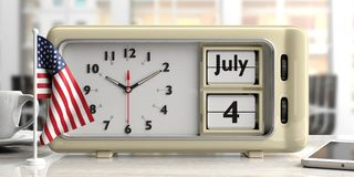 4th of July Independence Day on old retro alarm clock, American flag, office background, 3d illustration. 4th of July Independence Day on old retro vintage vector illustration