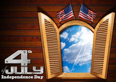 4th of July - Independence Day. A open window on wooden wall with blue sky with clouds interior, two US flags and phrase: 4th of July - Independence Day Vector Illustration
