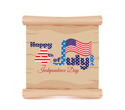 4th of july Independence day and parchment sign funny Stock Images