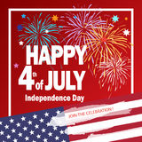 4th of July independence day Patriotic poster. Happy 4th of July Independence day poster, greeting card. Congratulations banner for celebrate American Holiday vector illustration