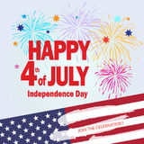 4th of July independence day Patriotic poster. Happy 4th of July Independence day poster, greeting card. Congratulations banner for celebrate American Holiday Stock Photos
