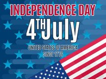 4th July Independence Day poster  flat. Bright stock illustration