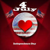 4th of July - Independence Day. Red heart on circle with US flag interior on red velvet background with phrase 4th of July - Independence Day Stock Images
