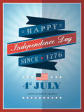 4th of July Independence day ribbon background. For card or poster vector illustration