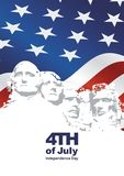 4th July Independence Day Rushmore USA flag. Greeting card banner vector stock illustration