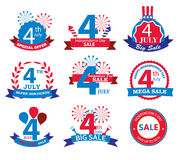 4th july Independence Day sale tags. Sale banners set, vector Stock Photos
