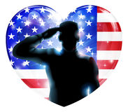 4th July independence day salute. Illustration for 4th July Independence Day or veterans day of a soldier saluting in front of American flag shaped as a heart stock illustration