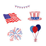4th of July, Independence day, sketch style, vector illustration Stock Photography