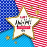 4th of July, Independence day - Star with brush calligraphy greeting on a stars and stripes USA patriotic colors background. Vector illustration Vector Illustration
