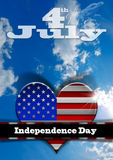 4th of July - Independence Day. Stylized heart with US flag interior on blue sky with clouds and phrase 4th of July - Independence Day Royalty Free Stock Photo