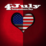 4th of July - Independence Day. Stylized heart with US flag interior on red velvet background with phrase 4th of July - Independence Day vector illustration