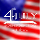 4th July, Independence day text over defocused United States fla Royalty Free Stock Image