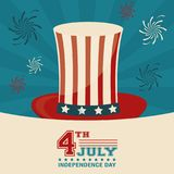 4th july independence day top hat decorative design. Vector illustration Stock Photo