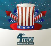 4th july independence day top hat fireworks celebration liberty patriotic. Vector illustration Royalty Free Stock Photos