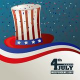 4th july independence day top hat flag usa confetti. Vector illustration Stock Photography