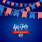 4th of July, Independence day - type design with brush calligraphy and USA patriotic flags garlands. Vector illustration Stock Photo