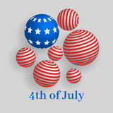 4th of July, Independence day. Of United States of America banner with 3d spheres Royalty Free Stock Photo