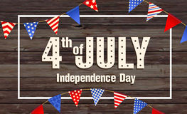 4th July - Independence day of United States of America - festive with different holiday symbols on wooden backgro. Und. Vector Illustration royalty free illustration