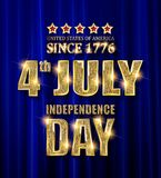 4th of July independence Day banner. 4th of July independence Day United States of America. Gold letters on a background of a blue curtain. Vector illustration royalty free illustration