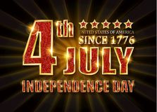 4th of July independence Day banner. 4th of July independence Day United States of America. Gold letters on a background of a gold curtain. Vector illustration vector illustration