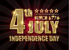 4th of July independence Day banner. 4th of July independence Day United States of America. Gold letters on a background of a red curtain. Vector illustration royalty free illustration