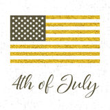4th of July, independence day. Of the United States of America,  golden poster Stock Photography
