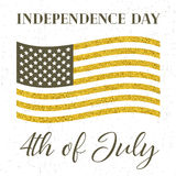4th of July, independence day. Of the United States of America,  golden poster Stock Images