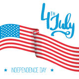 4th of july - Independence Day in United States of America greeting card. American national flag color illustration Royalty Free Stock Images