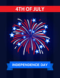 The 4th July, Independence Day in the United States of America. Greetings card. Celebrate it with the firework Stock Images