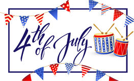 4th of July Independence day of United States of America. Poster, Banner. 4th July - Independence day of United States of America - festive  set with different Royalty Free Stock Photo