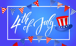 4th of July Independence day of United States of America. Poster, Banner. 4th July - Independence day of United States of America - festive  set with different Stock Image