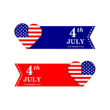 4th of July. Independence Day. United states of America symbols. USA. Holiday.Heart with american flag Stock Photos