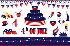 4th of July, Independence Day of the United States. Set of american icons. Vector Collection of Fourth of July Items Stock Photo