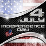4th of July - Independence Day. US flag on black background with metallic grid and phrase 4th of July - Independence Day Royalty Free Stock Photos