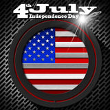 4th of July - Independence Day. US flag and eagle on black background with metallic grid with phrase 4th of July - Independence Day Stock Photography