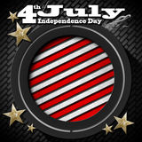 4th of July - Independence Day. US flag and eagle on black background with metallic grid with phrase 4th of July - Independence Day Stock Photo