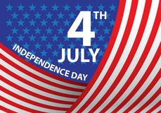 4th July Independence day of the USA curve flag holiday celebration vector. Illustration Stock Images