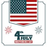 4th july independence day USA flag hanging poster. Vector illustration Royalty Free Stock Image