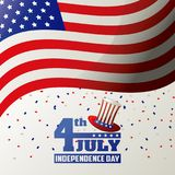 4th july independence day USA flag waving confetti celebration design. Vector illustration Stock Photos