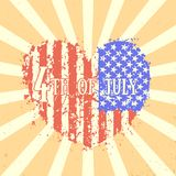 4th of july, Independence Day in USA. Heart with american flag, patriotic sign, vector illustration Royalty Free Stock Photos