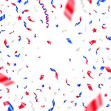 4th of July, Independence day - USA patriotic colors confetti. White, red and blue falling ribbons and stars. Vector background Stock Photography