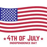 4th of july, Independence Day in USA. Patriotic sign with american flag, vector illustration Royalty Free Stock Photos