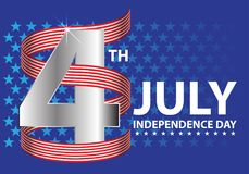 4th July Independence day of the USA silver number with red white ribbon on blue stars holiday celebration background vector. Illustration Stock Photography
