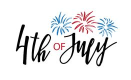 4th of July lettering for Independence Day c. Ard or poster. Vector illustration in national USA colors. Fireworks and calligraphy text stock illustration