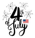 4th July lettering for Independence Day. Stock Images