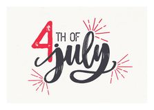 4th of July lettering written with elegant cursive font and decorated with fireworks. American Independence Day festive. Inscription isolated on light vector illustration