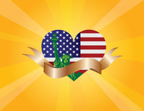 4th of July Liberty Heart and Ribbon Scroll Illustration Stock Images
